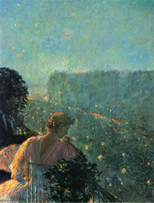 famous painting Summer Evening, Paris of Frederick Childe Hassam