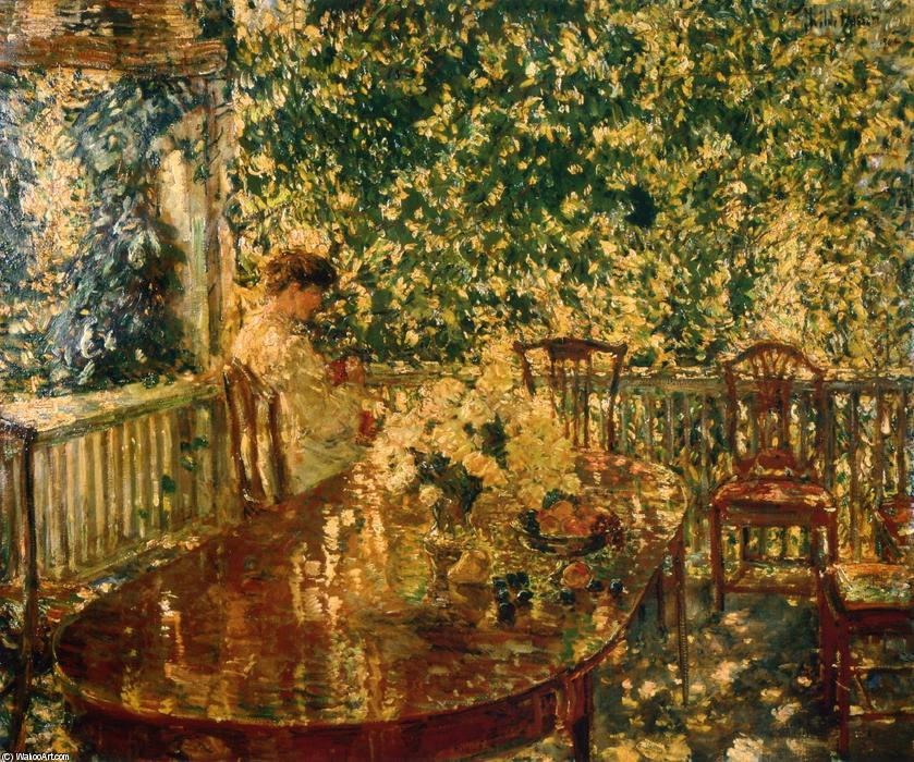 famous painting Summer Porch at Mr. and Mrs. C.E.S. Wood's of Frederick Childe Hassam