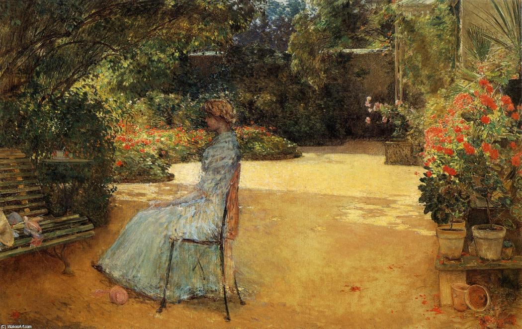 famous painting The Artist's Wife in a Garden, Villiers-le-Bel of Frederick Childe Hassam