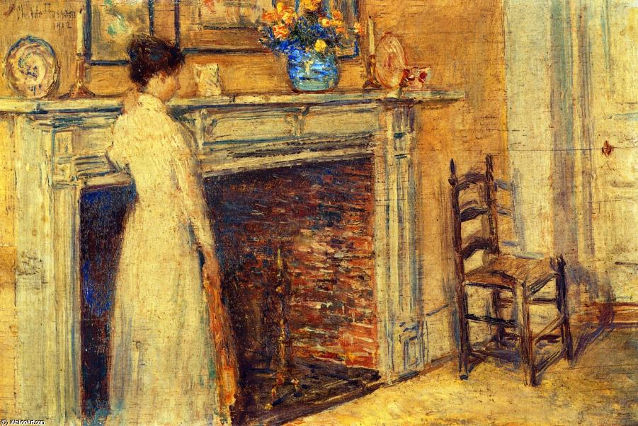 famous painting The Fireplace of Frederick Childe Hassam