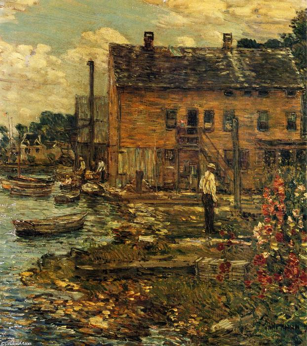 famous painting The Fishermen, Cos Cob of Frederick Childe Hassam