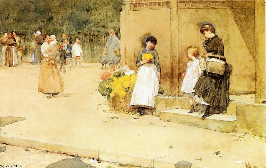 famous painting The Flower Seller of Frederick Childe Hassam