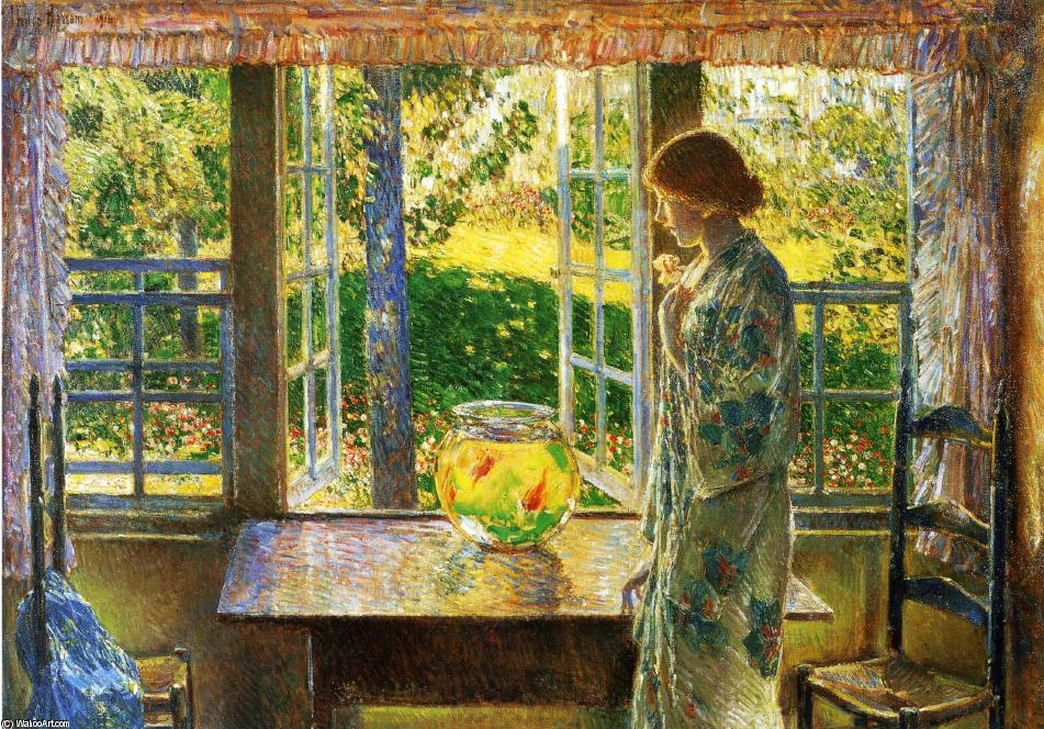 famous painting The Goldfish Window of Frederick Childe Hassam