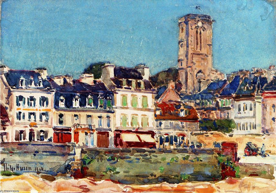 famous painting The Quai, Lannion of Frederick Childe Hassam