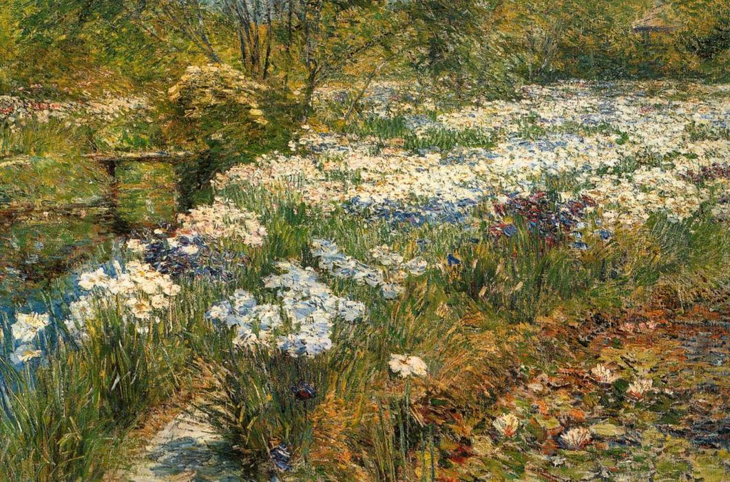 famous painting The Water Garden of Frederick Childe Hassam