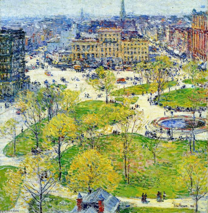 famous painting Union Square in Spring of Frederick Childe Hassam
