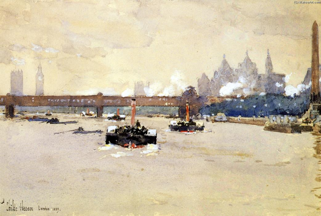 famous painting View of the Thames of Frederick Childe Hassam