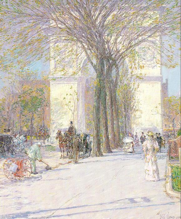 famous painting Washington Arch in Spring of Frederick Childe Hassam
