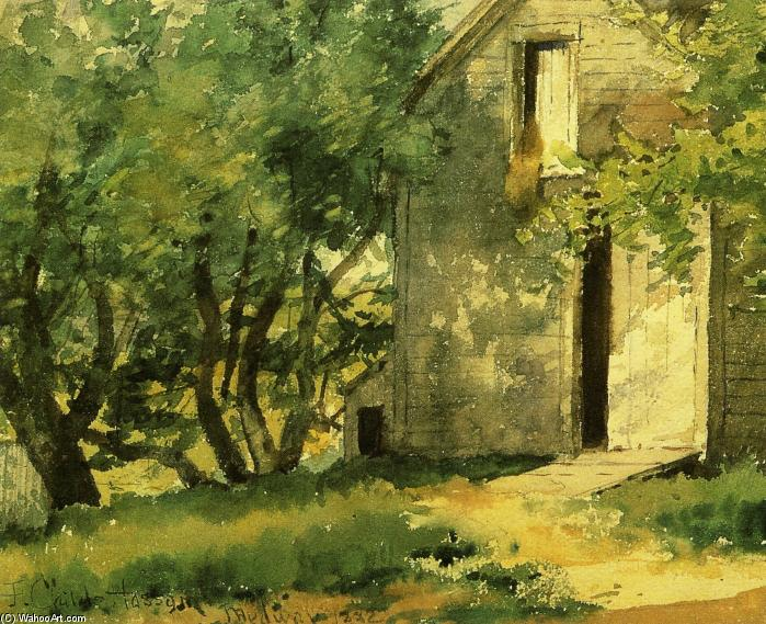 famous painting White Barn of Frederick Childe Hassam
