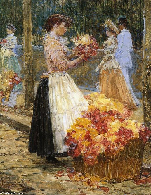 famous painting Woman Sellillng Flowers of Frederick Childe Hassam