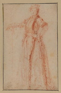 Jean Antoine Watteau - Study of a female figure, standing (recto)