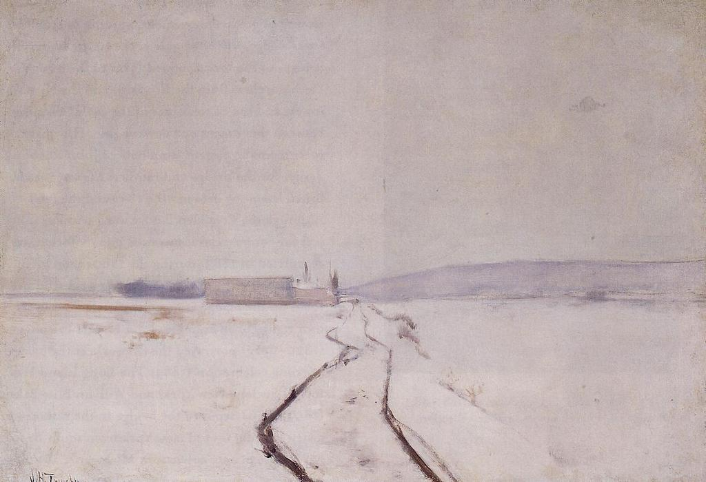 famous painting Along the River, Winter of John Henry Twachtman