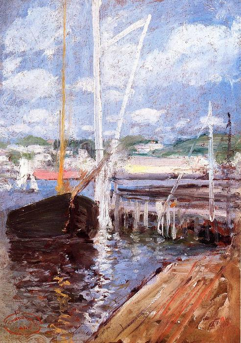 famous painting Boat Landing of John Henry Twachtman