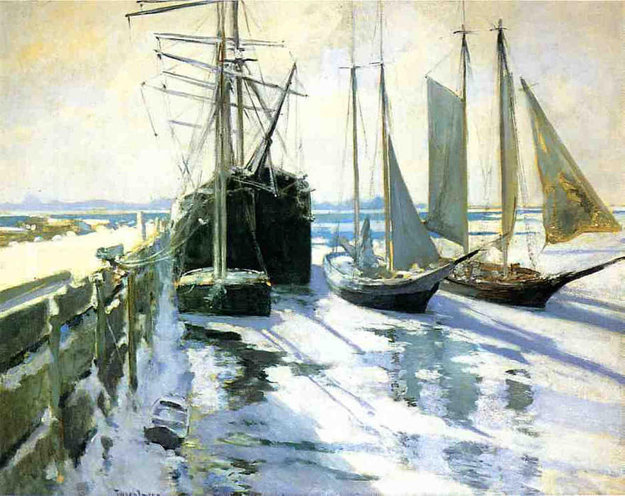 famous painting Connecticut Shore, Winter of John Henry Twachtman