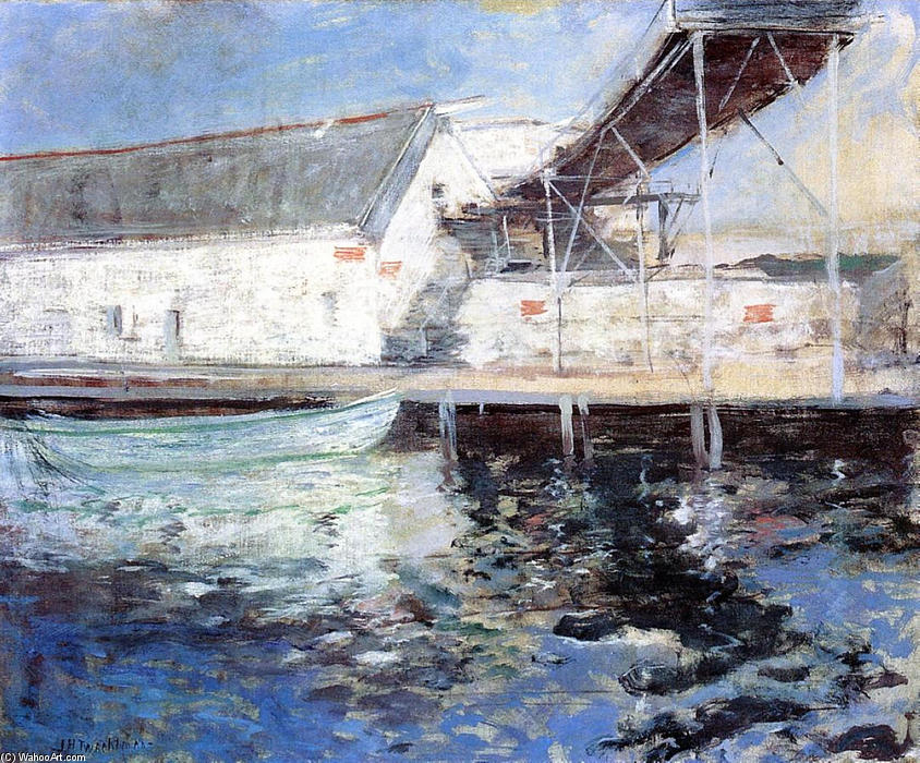 famous painting Fish Sheds, Gloucester, Massachusetts of John Henry Twachtman