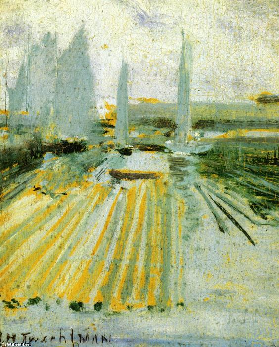 famous painting Fog and Small Sailboats of John Henry Twachtman
