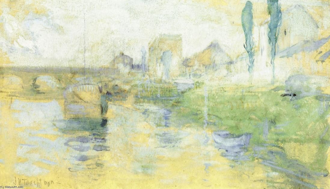 famous painting French River Scene of John Henry Twachtman