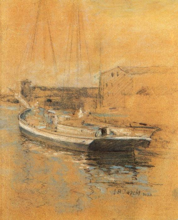 famous painting Newport Harbor of John Henry Twachtman