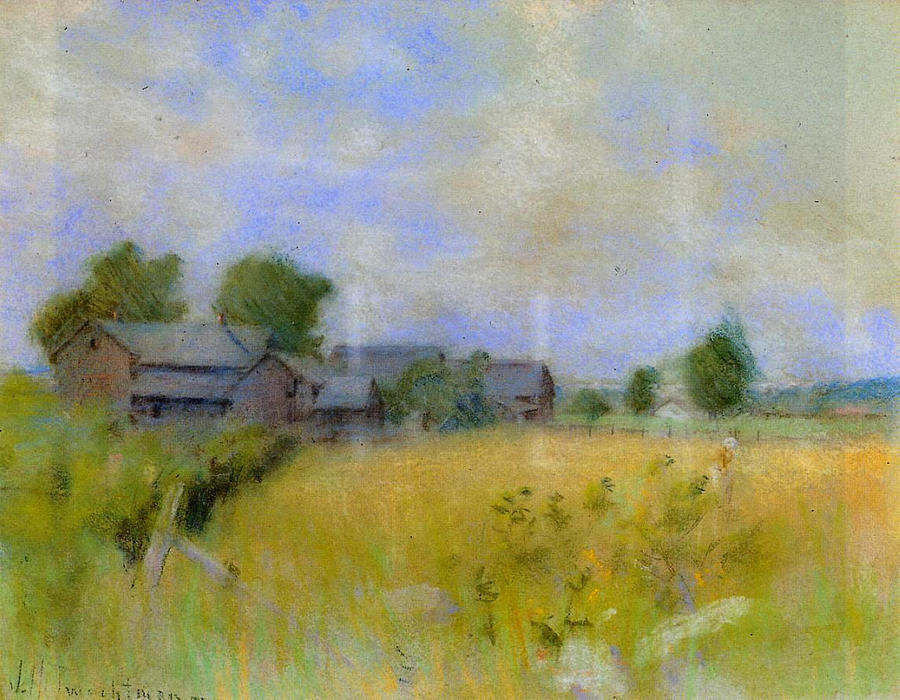 famous painting Pasture with Barns, Cos Cob of John Henry Twachtman