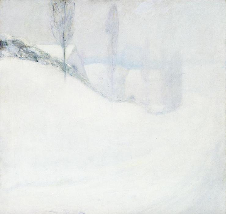 famous painting Round Hill Road of John Henry Twachtman