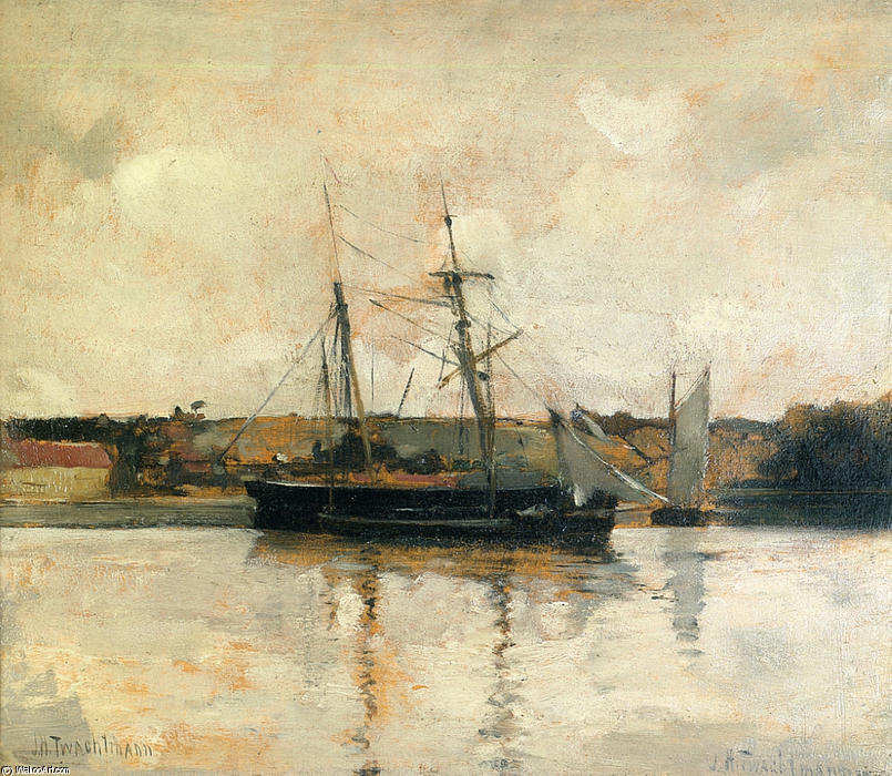 famous painting Sailing Boats, Dieppe Harbor of John Henry Twachtman