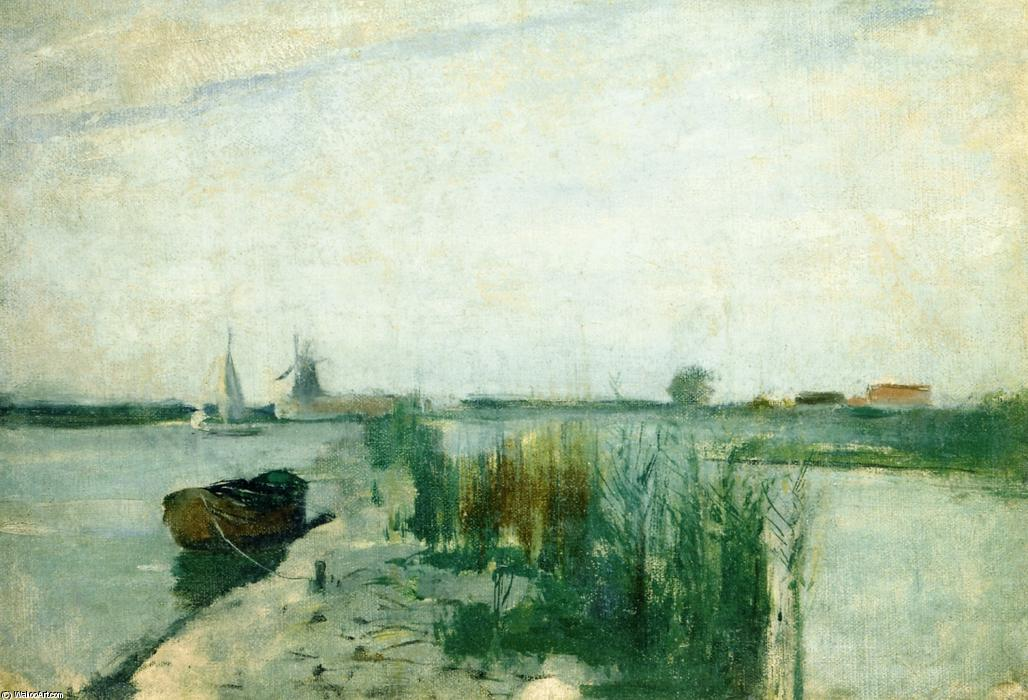 famous painting Scene along a Dutch River of John Henry Twachtman