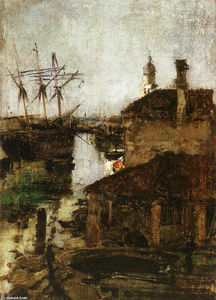John Henry Twachtman - Ship and Dock, Venice