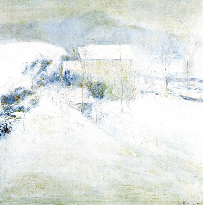 famous painting Snow Scene at Utica of John Henry Twachtman