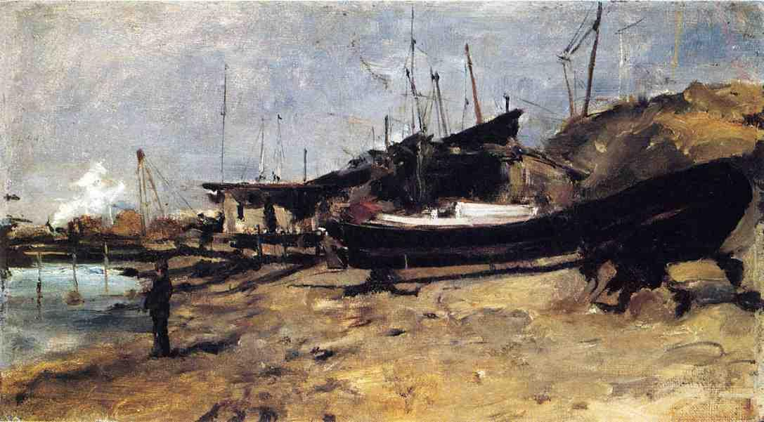 famous painting The Boat Yard of John Henry Twachtman