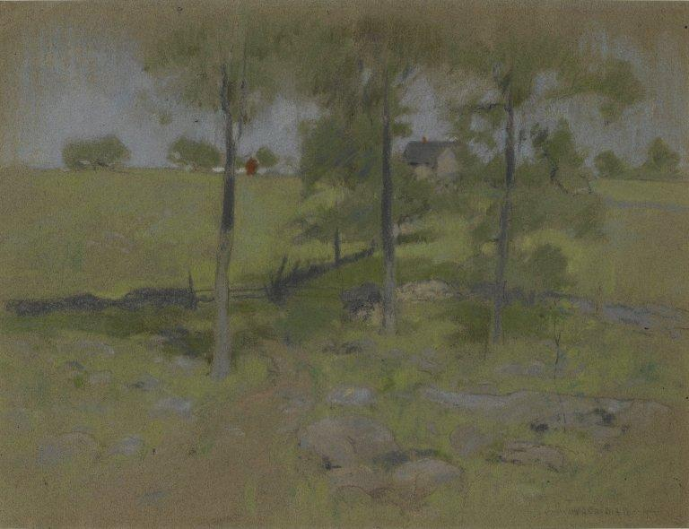 famous painting Three Trees of John Henry Twachtman
