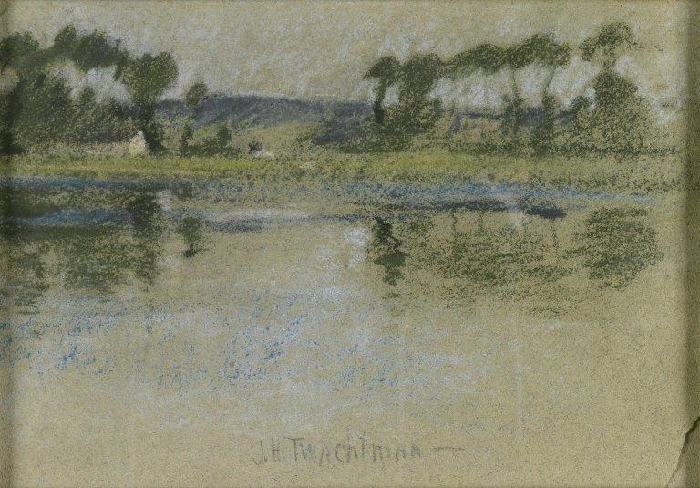 famous painting Trees Across the River of John Henry Twachtman