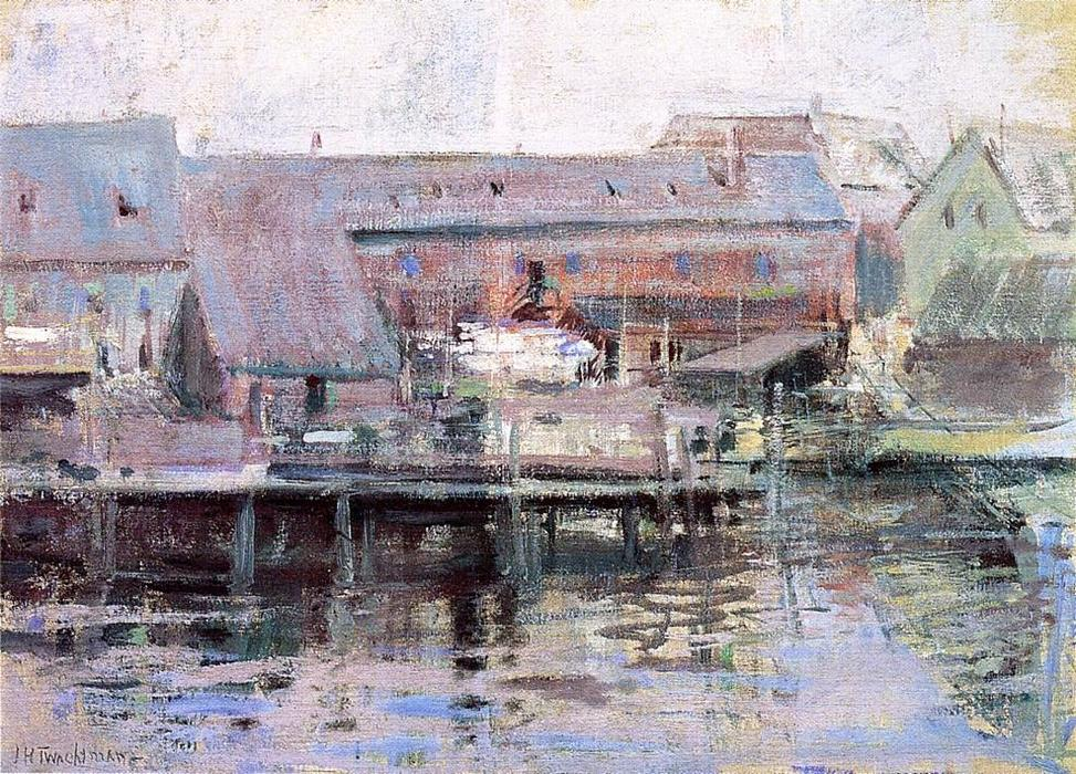 famous painting Waterfront Scene Gloucester of John Henry Twachtman