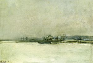 John Henry Twachtman - Winter Landscape with Barn