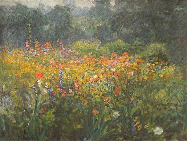 famous painting A country garden of John Ottis Adams