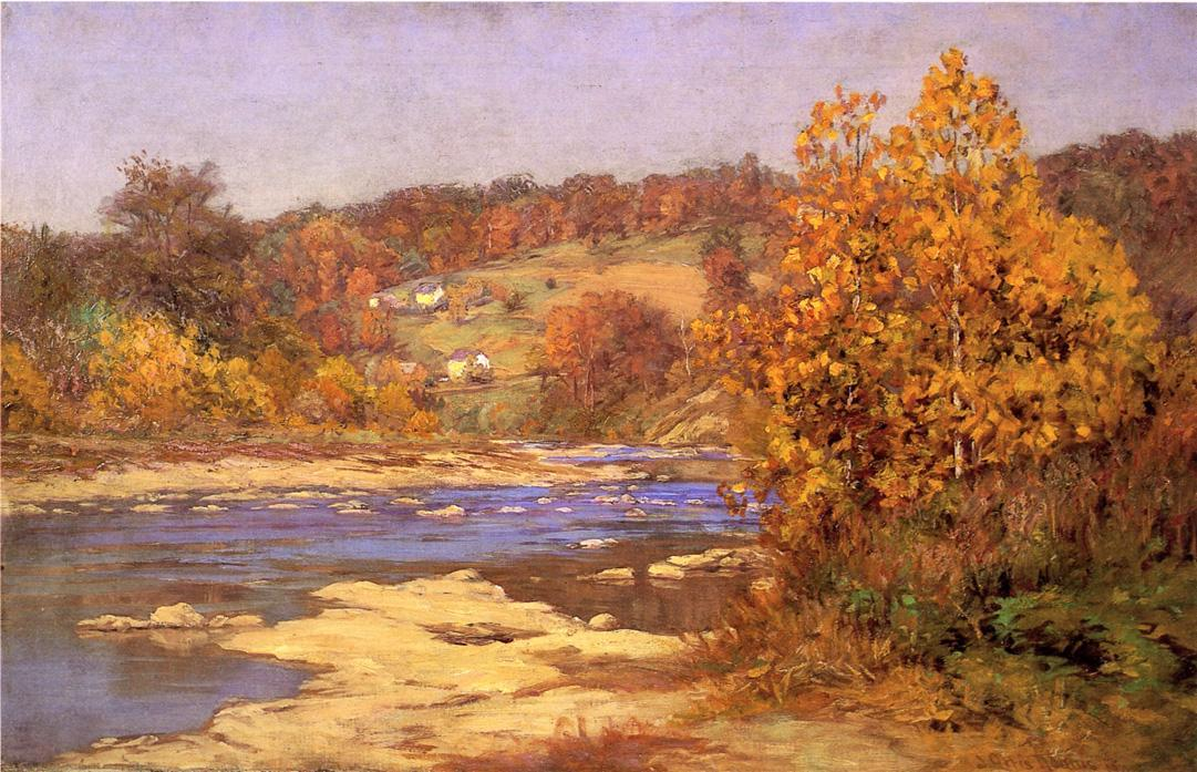 famous painting Blue and Gold of John Ottis Adams