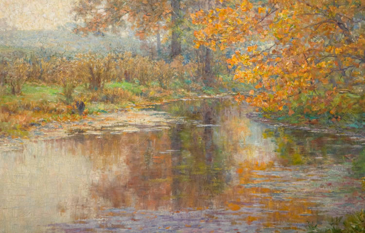 famous painting Glimmer Glass of John Ottis Adams