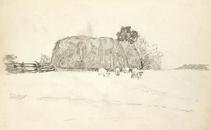John Ottis Adams - Grainstack and Sheep