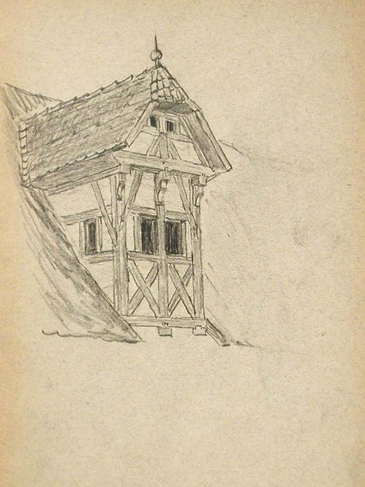famous painting Half-Timbered Dormer of John Ottis Adams