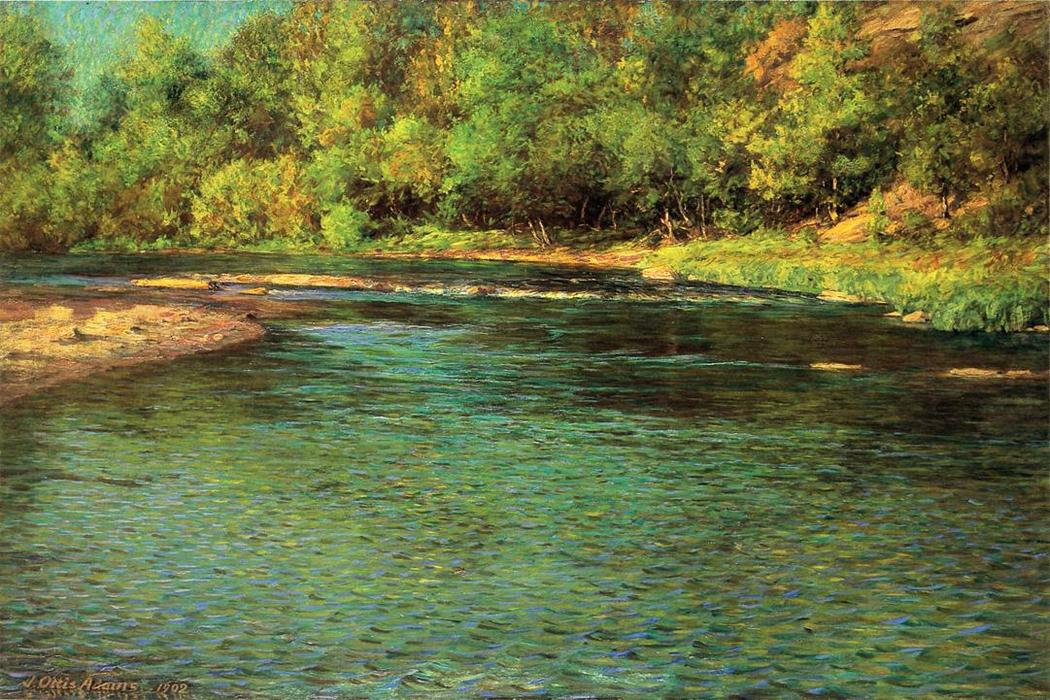 famous painting Iredescence of a Shallow Stream of John Ottis Adams