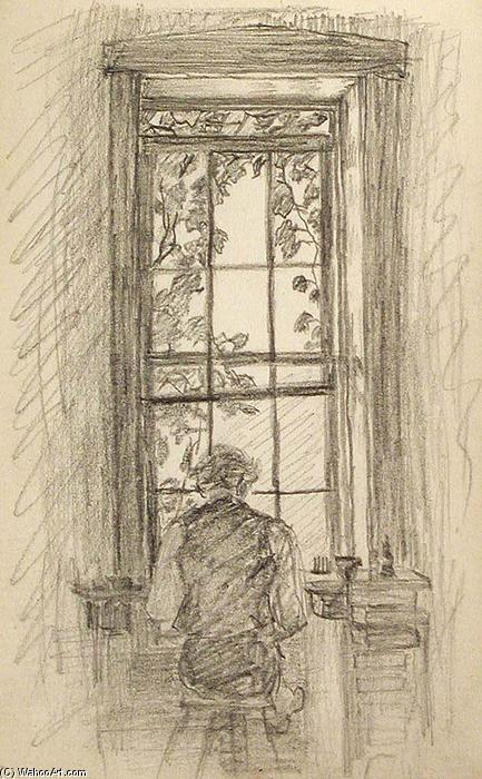 famous painting Man Seated by Window of John Ottis Adams