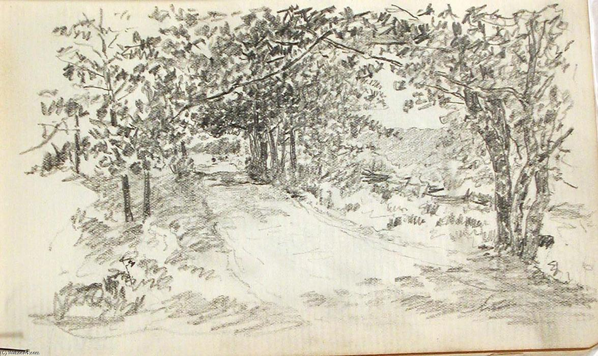 famous painting Road Through Woods 1 of John Ottis Adams