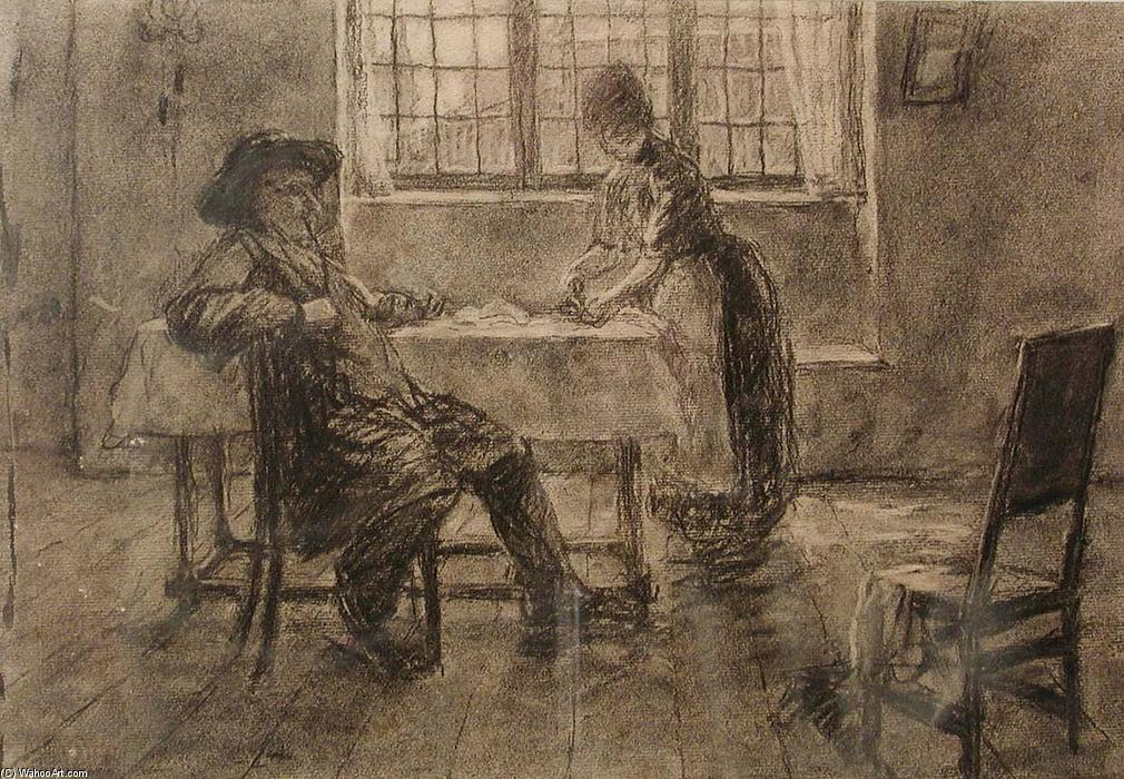 famous painting STUDY FOR COURTSHIP, BAVARIA of John Ottis Adams