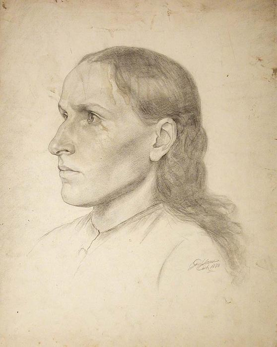 famous painting study head, young woman of John Ottis Adams