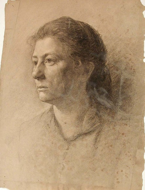 famous painting Study of a Woman's head of John Ottis Adams