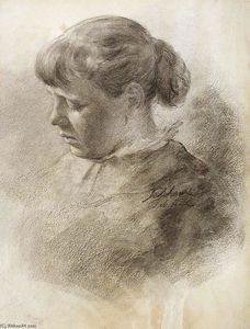 John Ottis Adams - Study of a Head