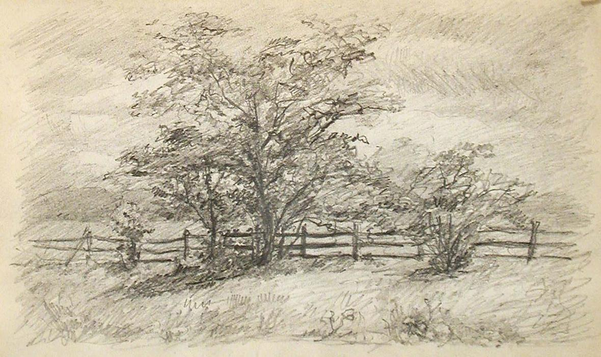 famous painting Tree and Fence of John Ottis Adams