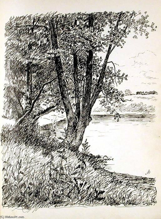 famous painting Tree by River of John Ottis Adams