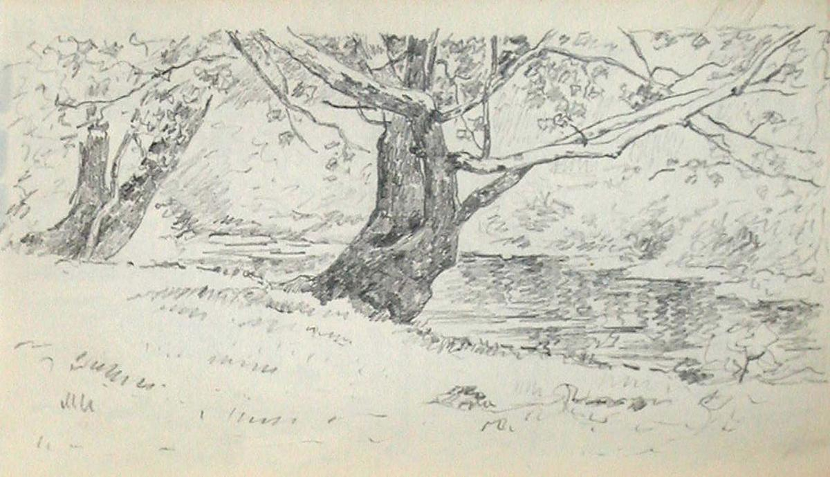 famous painting Tree on Bank of Stream of John Ottis Adams