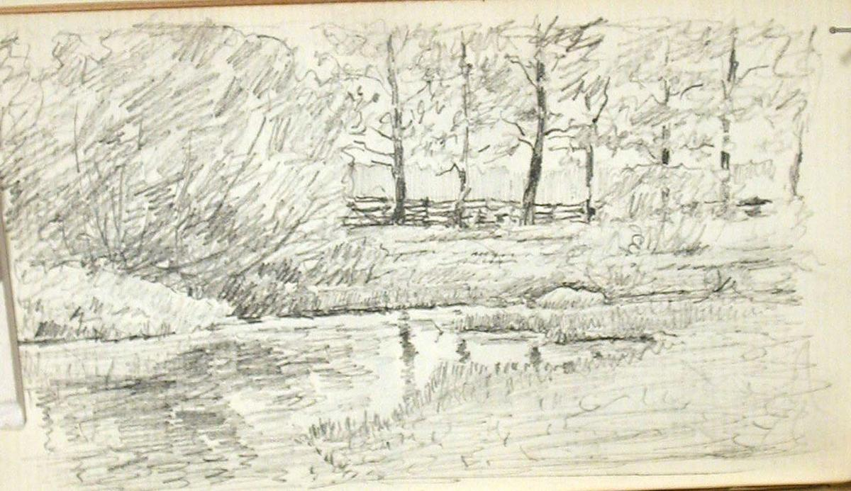famous painting Trees and Fence by Stream of John Ottis Adams