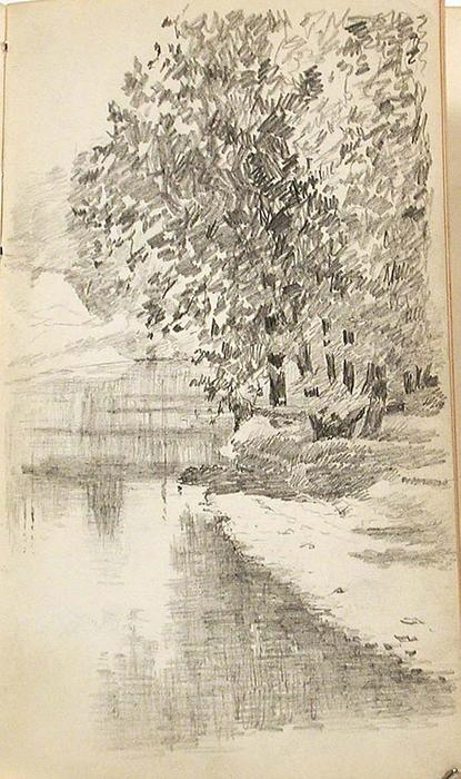 famous painting Trees by Stream 2 of John Ottis Adams